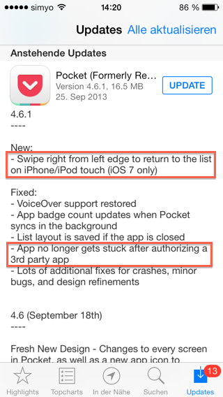 Changelog von Pocket 4.6.1