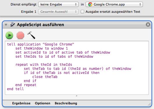 Nur im Chrome verfügbarer Automator-Service mit AppleScript