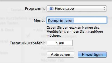 Hinzufügen des Shortcuts in den Tastatur-Systemeinstellungen
