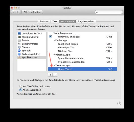 Frisch erstellter Shortcut in den Systemeinstellungen