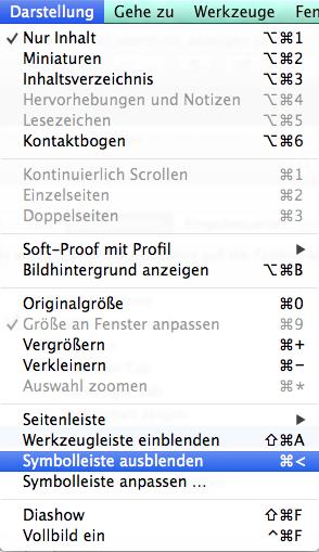 Apples Shortcut für das Ausblenden der Symbolleiste