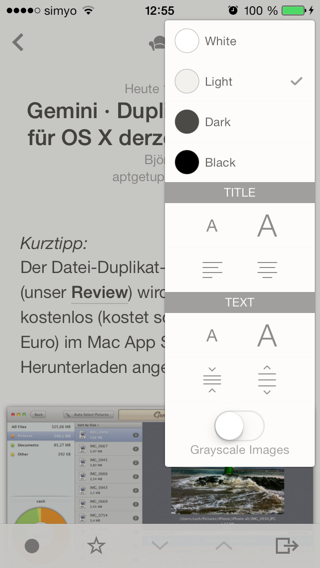 Neues Layout-Panel in Reeder
