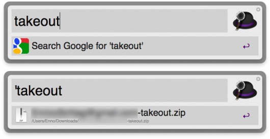 Oben: normale Suche, unten: globale Suche mit