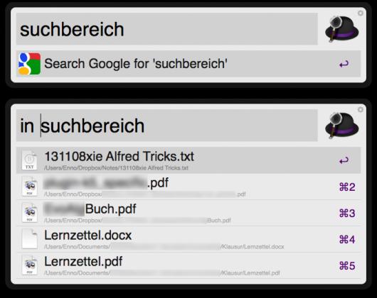 Oben: normale Suche, unten: Volltextsuche mit in
