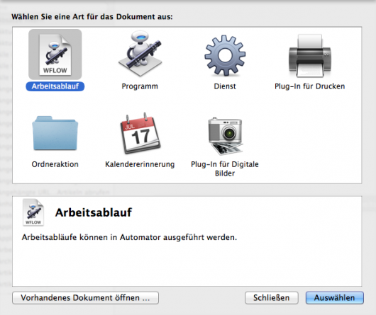 Startscreen in Automator