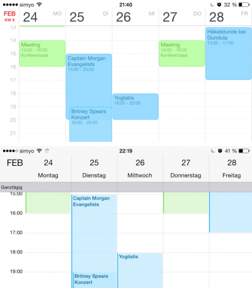 Vergleich der Wochenansicht, oben Fantastical, unten iOS Kalender
