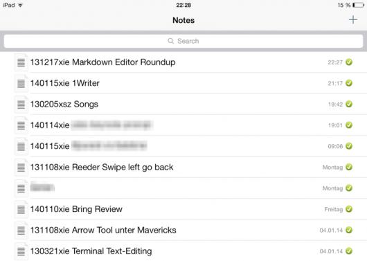 Dateiliste in Notesy (ohne Notizvorschau, dafür mit Zeitstempel und Sync-Status)