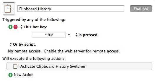 Clipboard-History-Makro in Keyboard Maestro