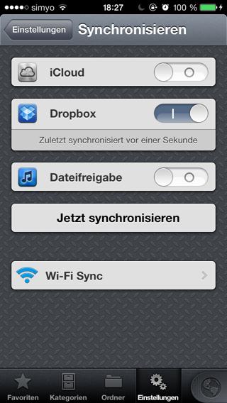 Optionen für die Synchronisierung