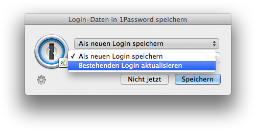 Bisheriges Passwort ersetzen