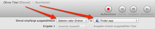 Dienst mit Dateien oder Ordnern aus dem Finder als Eingabetyp