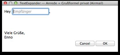 Eingabefenster für einzeiliges Textfeld