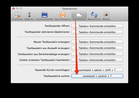 TextExpanders Shortcut-Einstellungen