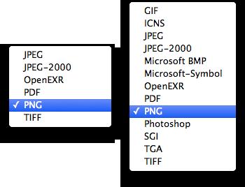 einfache Formatwahl links, rechts mit gedrückter ⌥-Taste