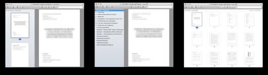 Seitenleiste: Miniaturen, Inhaltsverzeichnis und Kontaktbogen